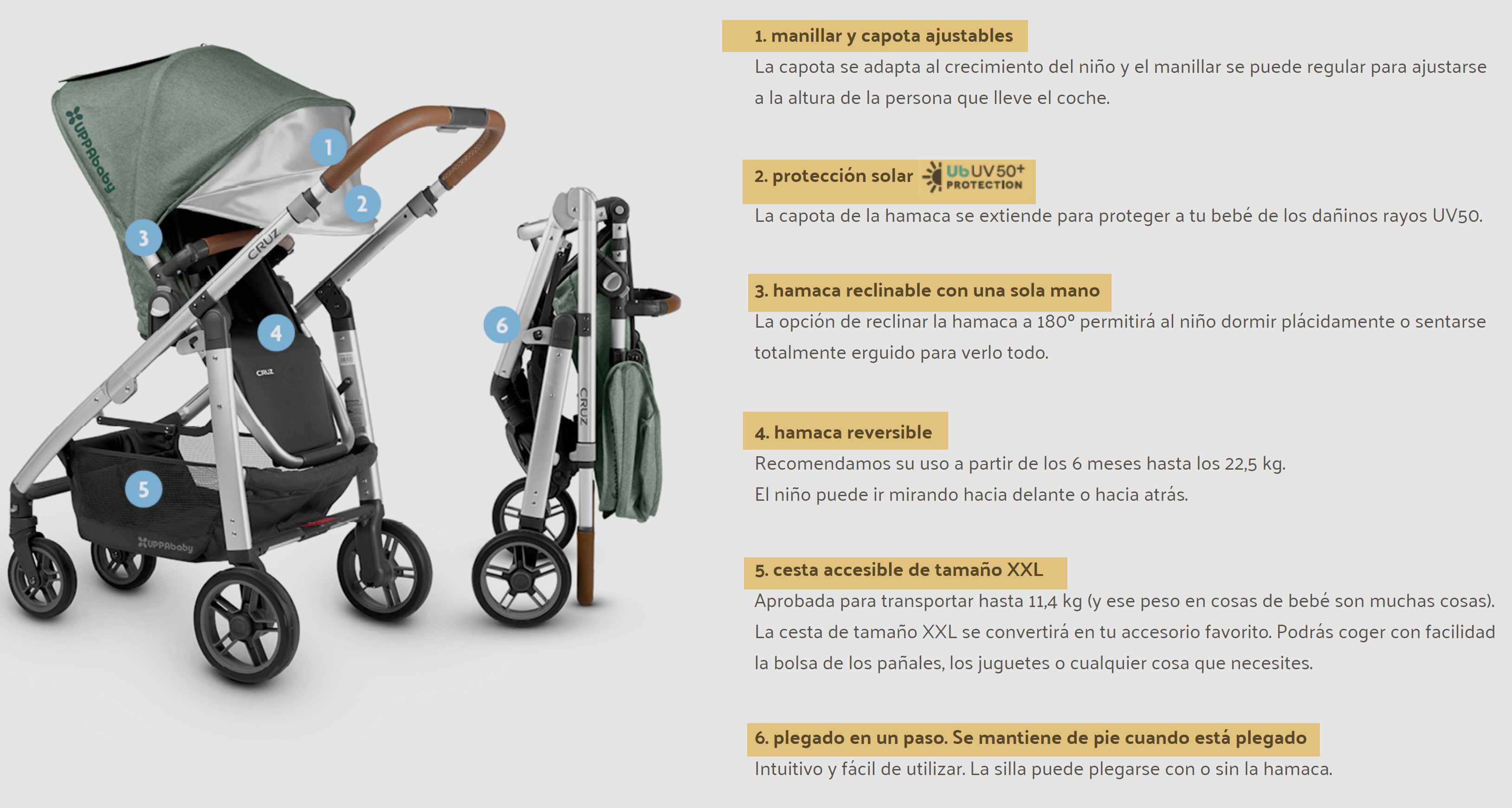 CARRO DUO UPPABABY CRUZ  ESPECIFICACIONES
