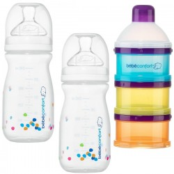 Kit 2 Biberones Natural Comfort 240 ml + Dosificador Bebe Confort
