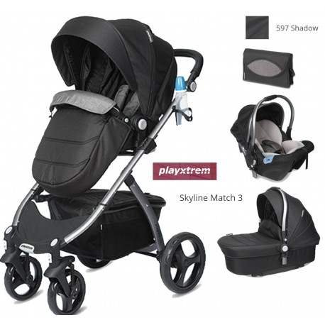 Cochecito Playxtrem SKYLINE COLOR 597- SHADOW (NEGRO)